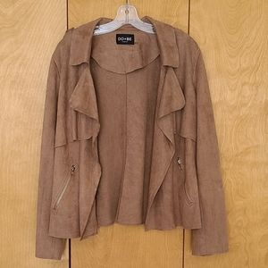 Do+Be curve open front jacket faux suede 2x